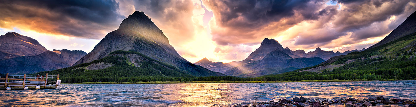 Swiftcurrent Lake at Sunset in Glacier National Park, Montana